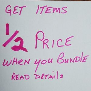 1/2 OFF each item , JUST Bundle 8 or more items!